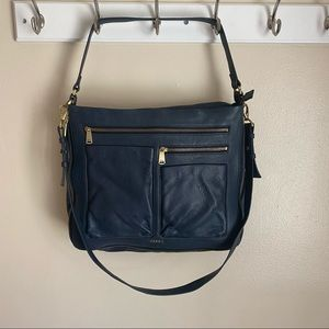 Fossil pebbled leather crossbody in blue EUC